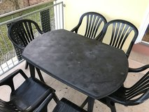 Plastic Patio Table and 6 chairs in Ramstein, Germany