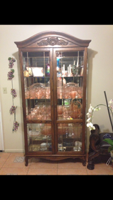 Beautiful beveled and leaded glass china cabinet in Yucca Valley, California