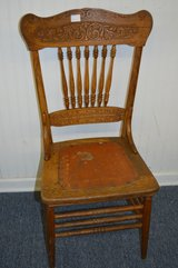 Antique Pressed Back Oak Chair with Leather Seat in Macon, Georgia