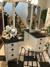 Beautiful Antique French Vanity With Tri Fold Mirror in Elgin, Illinois