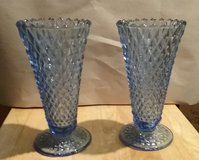 VINTAGE LGT BLUE DIAM-CUT CRYSTAL GLASS VASES in Camp Lejeune, North Carolina