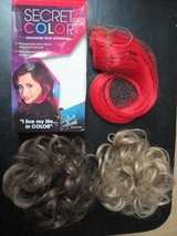 Hair extensions for curly bun updo, plus red long hair extensions in Houston, Texas