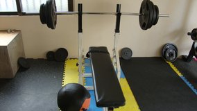 flat bench and barbell set by bodymaker in Okinawa, Japan