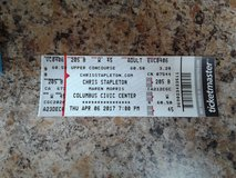 One ticket to Chris Stapleton concert ticket on April 6 2017 at 7pm in Fort Benning, Georgia