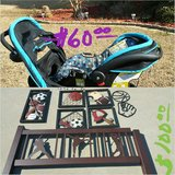 Stroller & carrier / full size bed & wall decor in Warner Robins, Georgia