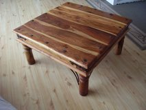 Coffee Table Solid Pine Wood with Metal Ornaments in Ramstein, Germany