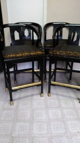 4 Excellent Vintage CENTURY CHAIR COMPANY HICKORY N.C Gold & Black Wood & Brass Bar Stools in Cleveland, Texas