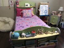Twin size bed is an excellent condition is pink and purple in Ramstein, Germany