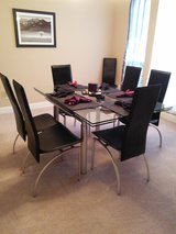 Glass Contemporary Dining Room Table in Conroe, Texas