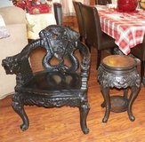 Chinese Antique Matching Chair and Tea table Heavy Carved Dragons in Beaufort, South Carolina