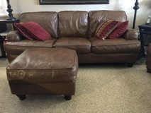 Sofa set (3) pieces- Brown leather in Davis-Monthan AFB, Arizona