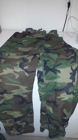 WOODLAND CAMO WET/COLD WEATHER PANTS WITH SUSPENDERS in Fort Leonard Wood, Missouri