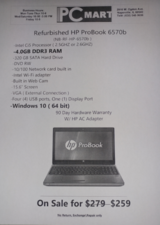 Refurbished HP ProBook 6570b core i5 320GB 4GB Business Class Laptop in Glendale Heights, Illinois