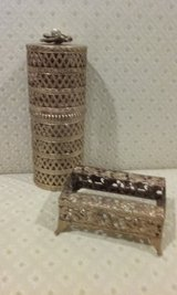 Vintage Metal Filigree Canister and Tissue Holder in Bartlett, Illinois