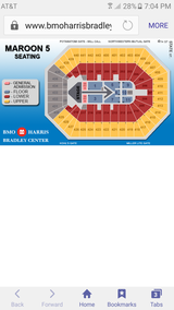 2 Maroon 5 Tickets 02/20/17 (Milwaukee) in Bolingbrook, Illinois