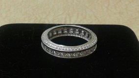 Sterling Silver Princess-cut Micropave CZ Eternity Band Ring in Lockport, Illinois