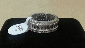18kt White Gold Plated Cz Channel Setting Emerald Cut Eternity Band in Bolingbrook, Illinois