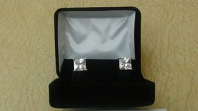 Genuine 14K Yellow Gold 4.00 ct Princess Cut Solitaire Stud Earrings in Bolingbrook, Illinois