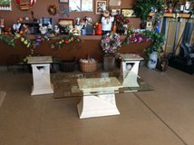 3-Pc Beveled Glass & Stone Coffee Table Set in Colorado Springs, Colorado