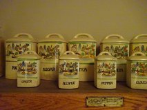 Antique Canister 13 piece spice set in Bartlett, Illinois