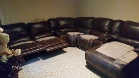 Brown Leather Sectional Sofa in Fort Polk, Louisiana