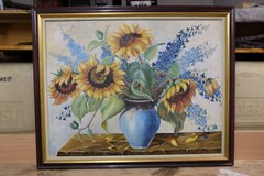 Framed Flower Vase Oil Painting in Ramstein, Germany