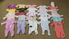 Lot of baby girl sleepers, onesies 0-3 months in Bartlett, Illinois