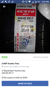 2 NWT Kumho tires in Lawton, Oklahoma