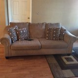 Pillow back couch and chair with two accent pillows in Savannah, Georgia