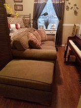 Green Corduroy Loveseat with Ottoman in Conroe, Texas