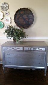 Grey painted dresser with silver leaf detail in Algonquin, Illinois