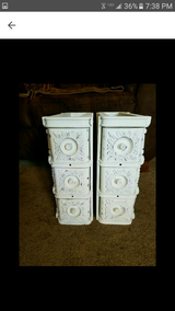 Vintage sewing machine drawers painted in Annie Sloan old white in DeKalb, Illinois