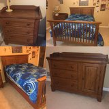 Convertable crib (with crib mattress) to full size bed, night stand and dresser/changing table in Batavia, Illinois