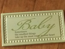 Metal sign for baby's nursery in Houston, Texas
