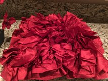 Red silk ruffled pillow in Phoenix, Arizona