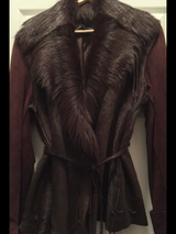 Brown suede/ fur coat in St. Charles, Illinois