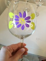 Hand painted flower wine glass in Ramstein, Germany
