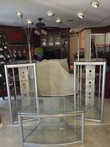 Glass tv stand, 2 glass towers and 2 lamps in Warner Robins, Georgia