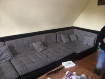 FREE! Huge Couch blk leather/grey in Ramstein, Germany