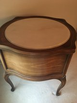 Mom's Estate Sale - Vintage French Provincial Marble Top Round Drum Table / Night Stand with 2 d... in Batavia, Illinois