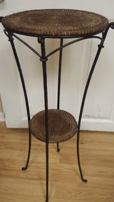 Pier 1 wicker iron accent side pedestal table in Batavia, Illinois