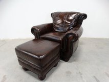 Leather Styling Arm Chair & Foot Stool in Alvin, Texas