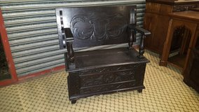 Carved Oak Monks Bench date approx 1880 Free Delivery in Lakenheath, UK
