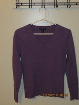 Ladies Land's End Purple 100% Cotton Lightweight Cable Knit Sweater - Size Small in Bolingbrook, Illinois