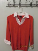 Ladies New York & Company Coral Knit Sweater with White Mock Layer in Bolingbrook, Illinois