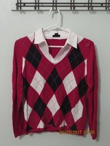 Ladies east5th Petite Red Argyle Sweather with Mock Layer in Bolingbrook, Illinois