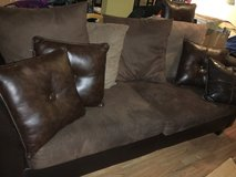 Chocolate couch -moving sale! in Bartlett, Illinois