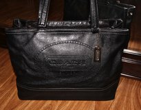 *REDUCED* Authentic COACH Black Leather Tote/ Purse/ Shoulder Bag with Large Logo in Okinawa, Japan