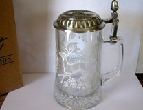 Glass & pewter stein, old with picture of deer etched in it! in Quad Cities, Iowa