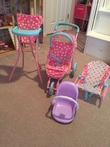 Doll play set (carrier, Bouncer, stroller, high chair) in Aurora, Illinois